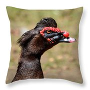 Profile Of A Brown Muscovy Duck Throw Pillow