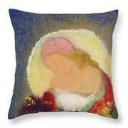 Profile Of A Girl With Flowers Throw Pillow