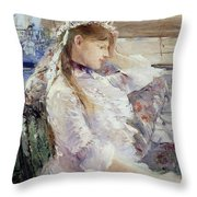 Profile Of A Seated Young Woman Throw Pillow