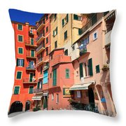 promenade and homes in Camogli Throw Pillow
