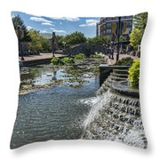 Promenade And Waterfall In Carroll Creek Park In Frederick Mary Throw Pillow
