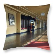 Promenade Deck Queen Mary Ocean Liner 01 Throw Pillow