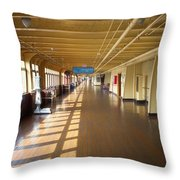 Promenade Deck Queen Mary Ocean Liner 02 Throw Pillow