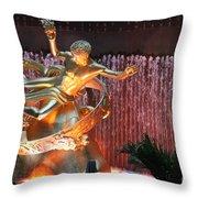 Prometheus Statue - Rockefeller Center Nyc Throw Pillow