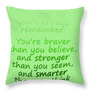 Promise Me - Winnie The Pooh - Green Throw Pillow