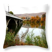Prosser Bridge And Fall Colors On The River Throw Pillow