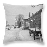 Prosser Winter Train Station  Throw Pillow