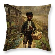 Protecting The Groceries Throw Pillow by Edward Lamson Henry