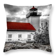 Protector Of The Harbor - Sand Point Lighthouse Throw Pillow