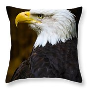 Proud Eagle Profile Throw Pillow by Athena Mckinzie