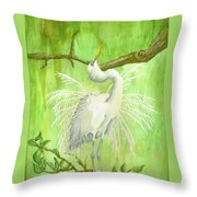 Proud Egret Throw Pillow