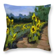 Provence Sunflower Field Throw Pillow