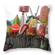 Provencetown Lobster Buoys Throw Pillow