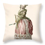Provencial Style Ladys Walking Gown Throw Pillow