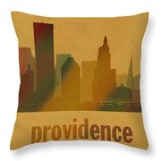 Providence Rhode Island City Skyline Watercolor On Parchment Throw Pillow