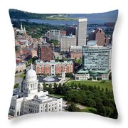 Providence Rhode Island Downtown Skyline Aerial Throw Pillow