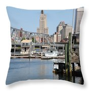 Providence River And Point St Bridge Throw Pillow