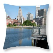 Providence Skyline And Riverfront Throw Pillow