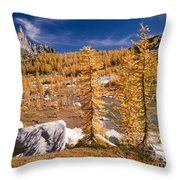 Prusik Peak Above Larch Grove Throw Pillow