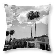 Ps City Hall Front Bw Palm Springs Throw Pillow