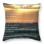 Psalm 23 Beach Sunset Throw Pillow