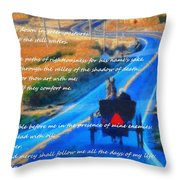 Psalm 23 Country Roads Throw Pillow