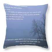 Psalm 23 Foggy Morning Throw Pillow