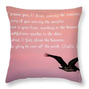 Psalm With Pelican And Pink Sky Throw Pillow