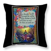 Psalms 23-4a Throw Pillow