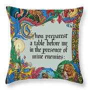 Psalms 23-5a Throw Pillow