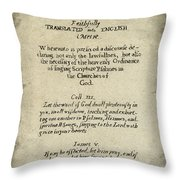 Psalms Hand Written Book Plate 1640 Throw Pillow