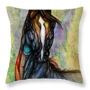 Psychedelic Brown And Blue Throw Pillow