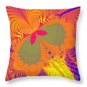 Psychedelic Butterfly Explosion Fractal 61 Throw Pillow