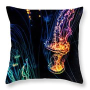 Psychedelic Cnidaria Throw Pillow