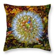 Psychedelic Dandelion Throw Pillow