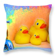 Psychedelic Ducks And Faucet Throw Pillow