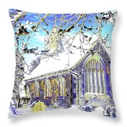 Psychedelic English Village Church In Winter Throw Pillow