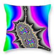 Psychedelic Fractal Art With Bold Wild And Crazy Colors Throw Pillow