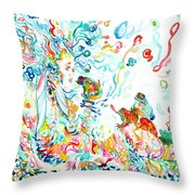Psychedelic Goddess With Toads Throw Pillow