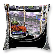 Psychedelic Gondola Venice Throw Pillow