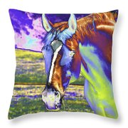 Psychedelic Horse Throw Pillow
