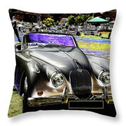 Psychedelic Jaguar Xk120 Classic Car 1 Throw Pillow