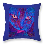 Psychedelic Kitty Throw Pillow