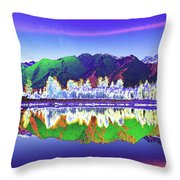 Psychedelic Lake Matheson New Zealand Throw Pillow