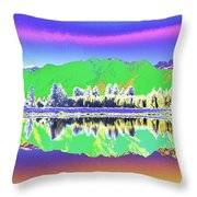 Psychedelic Mirror Lake New Zealand 3 Throw Pillow