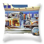 Psychedelic Old Pickup Truck Throw Pillow