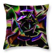 Psychedelic Rubber Plant Throw Pillow