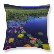 Psychedelic Shore - Great Meadows Nwr Throw Pillow by Sylvia J Zarco