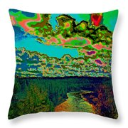 Psychedelic Skyline Over Spokane River #1 Throw Pillow