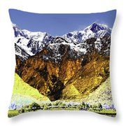 Psychedelic Southern Alps New Zealand Throw Pillow